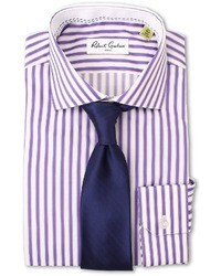 Purple Vertical Striped Dress Shirt