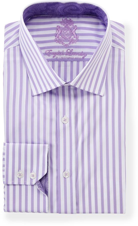 Purple vertical striped dress shirt english laundry for Vertical striped dress shirt