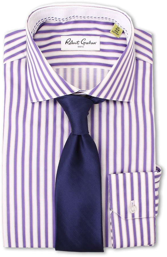 Purple vertical striped dress shirt robert graham burt for Purple striped dress shirt