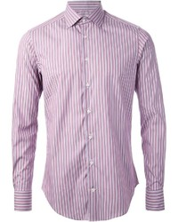 Purple Vertical Striped Long Sleeve Shirt