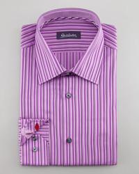 Robert Graham Daly Striped Dress Shirt Purple