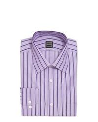 Ike Behar Long Sleeve Button Front Striped Poplin Dress Shirt Purple