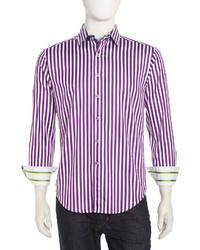 Robert Graham Mr Balik Bengal Striped Dress Shirt Purplewhite