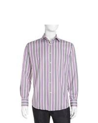 Neiman Marcus Striped Sport Shirt Purple