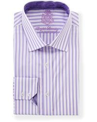 English Laundry Vertical Stripe Long Sleeve Dress Shirt Purple