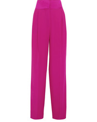Paul & Joe Hammered Satin Trimmed Crepe Wide Leg Pants Magenta