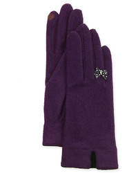 Cashmere blend bow finger tech knit gloves dark purple medium 126042