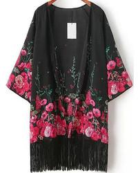 Quimono con print de flores negro
