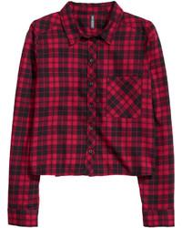 H&M Short Flannel Shirt Blackwhite Checked Ladies