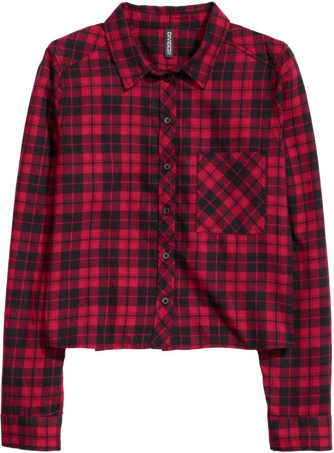0efea15caade ... Red and Black Check Dress Shirts H&M Short Flannel Shirt Blackwhite  Checked Ladies ...