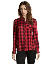 Wyatt White And Black Plaid Flannel Button Front Shirt
