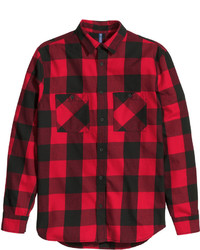 Red and Black Check Flannel Long Sleeve Shirt
