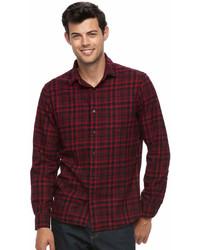 Apt. 9 Big Tall Modern Fit Plaid Brushed Flannel Button Down Shirt