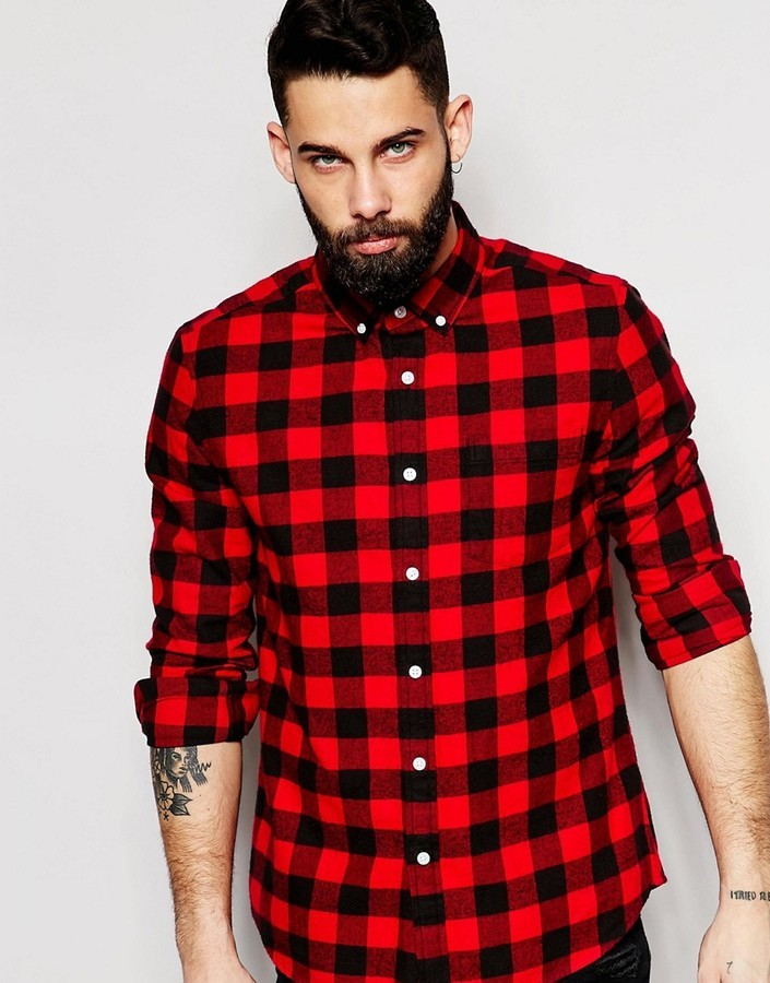 3c753fd6 Asos Brand Buffalo Plaid Shirt In Regular Fit, $36 | Asos ...