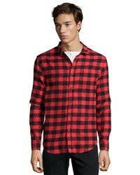 Jachs Manufacturing Co Red And Black Plaid Cotton Blend Flannel Button Front Shirt