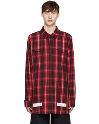 Off-White Red Black Flannel Check Shirt