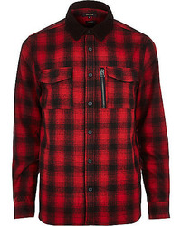 River Island Red Check Flannel Shirt Jacket
