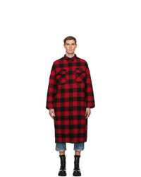 Red and Black Check Flannel Shirt Jacket