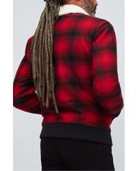 Red and Black Check Harrington Jacket