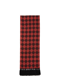 Gucci Red And Black Wool G Check Scarf