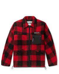 Red and Black Check Shirt Jacket