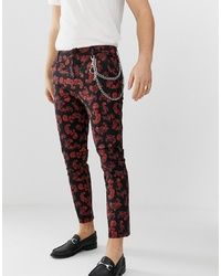 ASOS DESIGN Skinny Cropped Trousers In Baroque Print