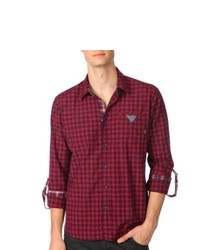 191 Unlimited Slim Fit Red Gingham Plaid Woven Shirt