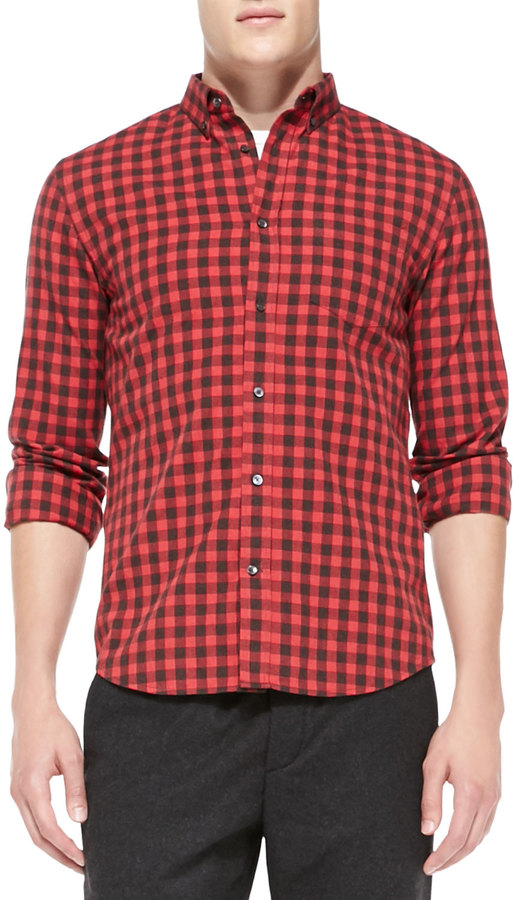 Vince Check Button Down Shirt Red | Where to buy & how to wear