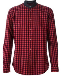 Vangher Band Collar Checked Shirt