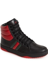 Red and Black High Top Sneakers