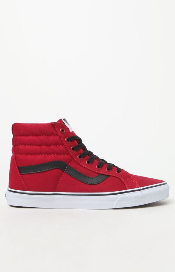 24b55ff4b2 Vans Canvas Sk8 Hi Reissue Red Black Shoes