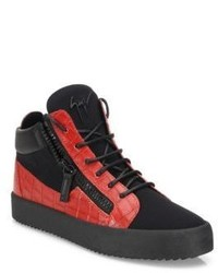 Men's Red and Black High Top Sneakers