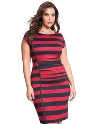 ELOQUII Plus Size Asymmetrical Zip Stripe Dress