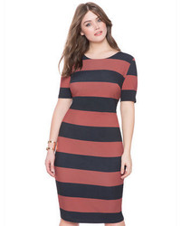 ELOQUII Plus Size Stripe Midi Dress