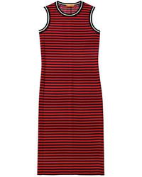 Joe Fresh Sporty Stripe Midi Dress Red