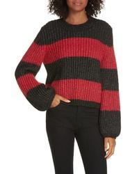 LA LIGNE Colorblock Balloon Sleeve Crop Sweater