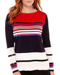 Liz Claiborne Long Sleeve High Low Striped Sequin Sweater
