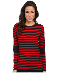 Red and Black Horizontal Striped Long Sleeve T-shirt