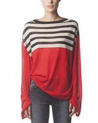 Acne studios long sleeve striped silk top poppy red medium 158035