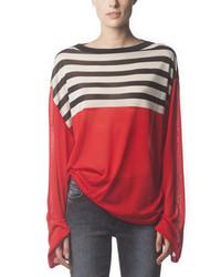 Acne Studios Long Sleeve Striped Silk Top Poppy Red