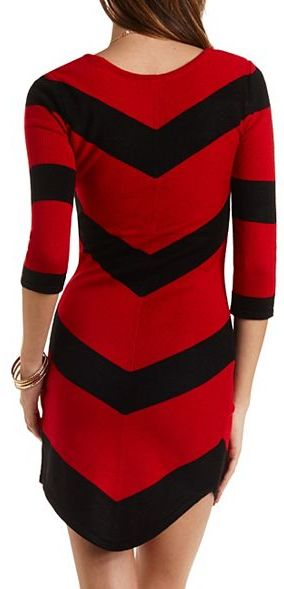 c041b6a048b Charlotte Russe Chevron Stripe Sweater Dress