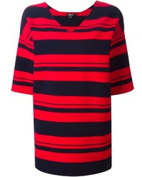 Red and Black Horizontal Striped Tunic
