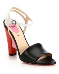 Fendi Fantasia Colorblock Mixed Leather Sandals