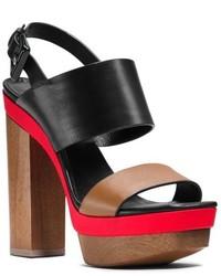 Michael Kors Ettie Color Block Leather Sandal
