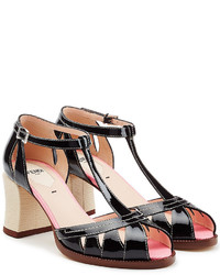 Fendi Patent Leather Block Heel Sandals