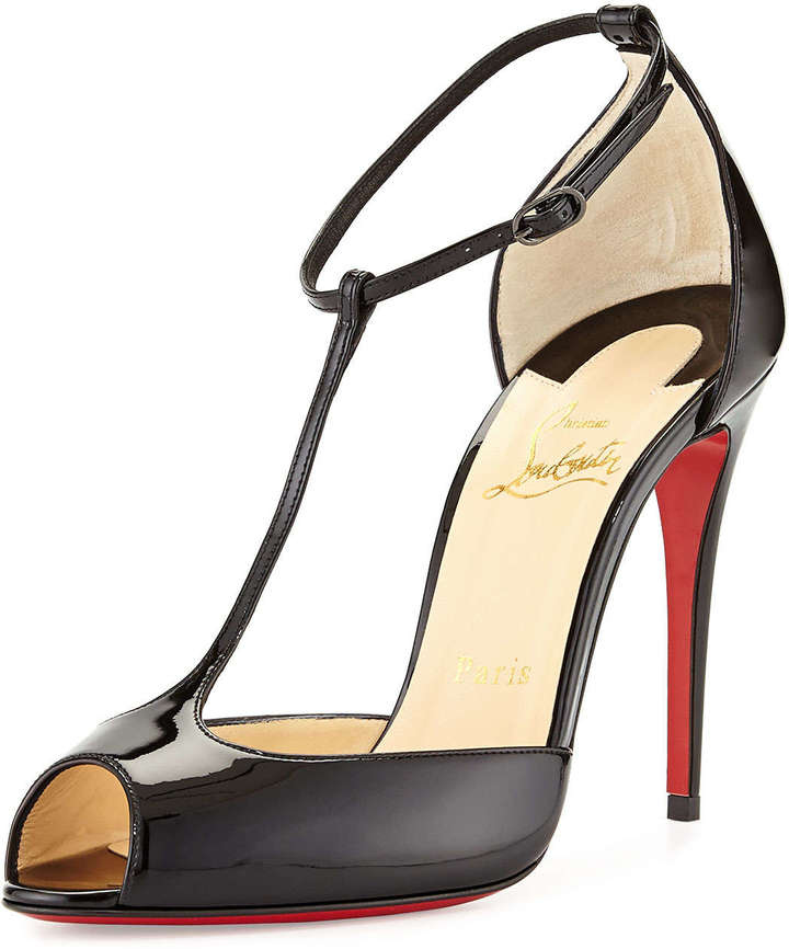 sports shoes 18cb8 42c88 $875, Christian Louboutin Senora Patent T Strap Red Sole Sandal Black