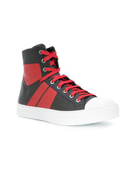 Red and Black Leather High Top Sneakers