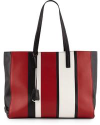 Prada Leather Baiadera Striped Tote Bag Blackredwhite