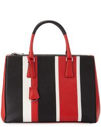 Prada Saffiano Baiadera Striped Galleria Tote Bag Redwhiteblack