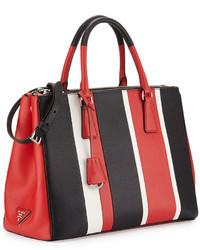 4c07f1e29fd5c6 ... Prada Saffiano Baiadera Striped Galleria Tote Bag Redwhiteblack ...